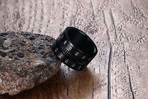 Surpriceme! Jewelry 12mm Wide Stainless Steel Black Plated Camera Telephoto Lens Design Men's Spinner Ring Bands - Surpriceme.com