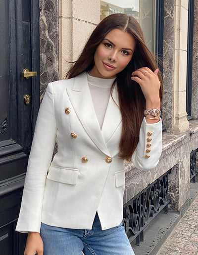 The DUBAY Blazer White Gold Lion Buttons Sleeves Front Double Breasted Slim Cut Arched Waist Aniiiqa