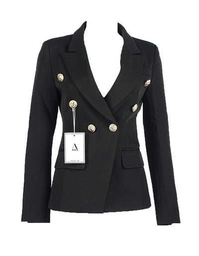 The DUBAY Blazer Black Gold Lion Button on Sleeves and Collar Slim Cut Light Arched Waist Aniiiqa