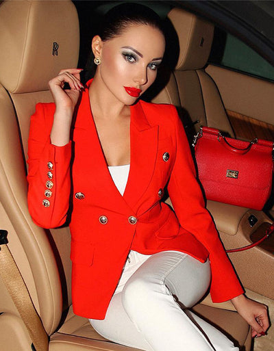 Russian Model Julia Adasheva Wearing Dubay red blazer by Aniiiqa