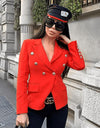 Giulia Nati Wearing Dubay Blazer Red by Aniiiqa