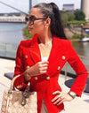 Woman Wearing Dubay Blazer Red by Aniiiqa