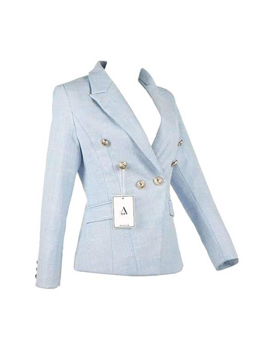 The DUBAY Blazer Light Blue Gold Lion Buttons by Aniiiqa