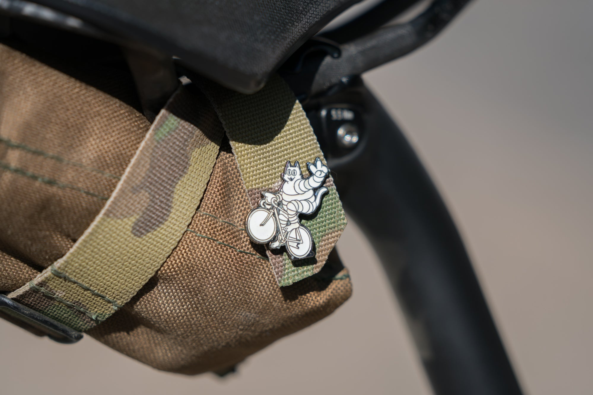 Meowchelin Peace Wheelie Cat Lapel Pin