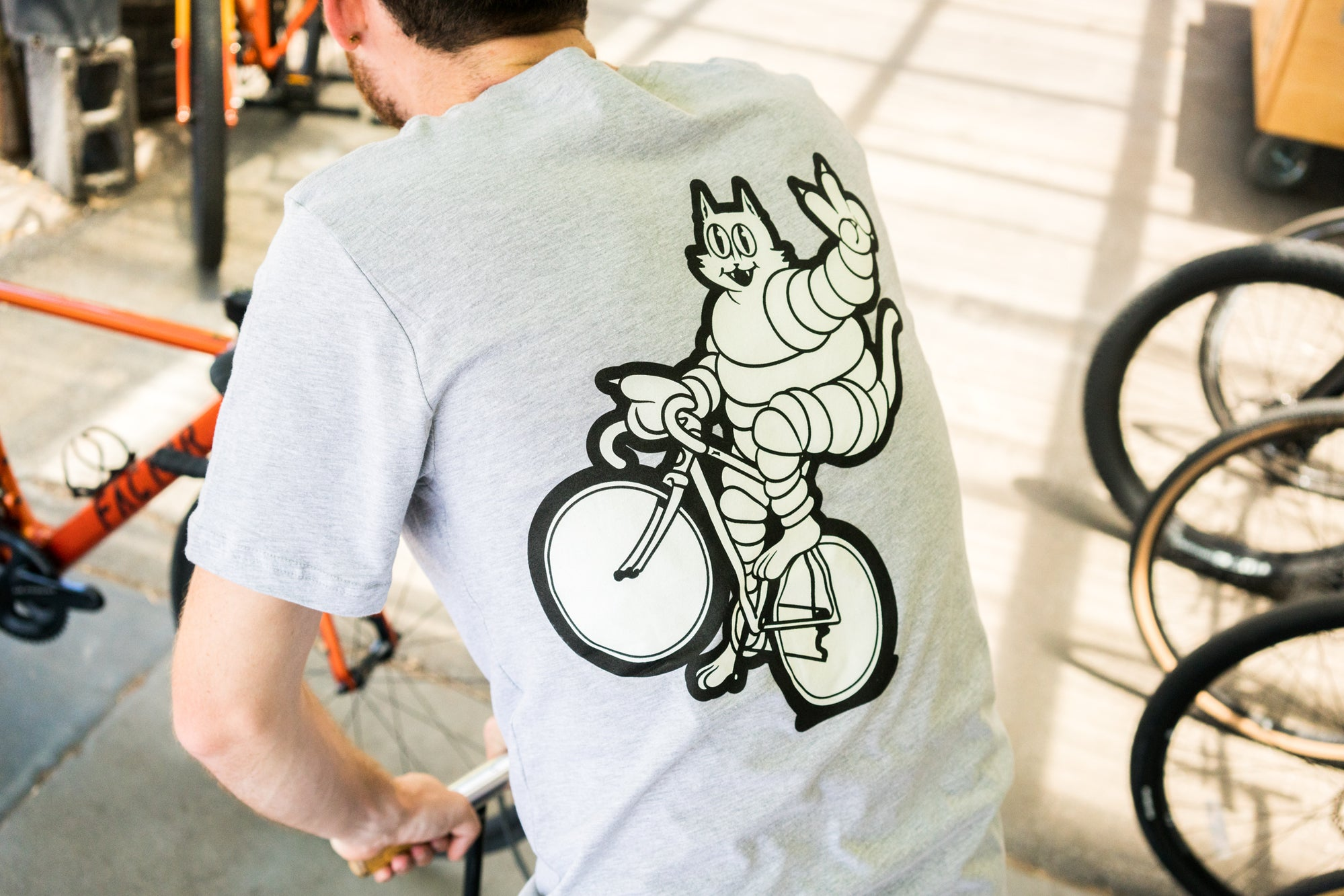 Heather Grey Meowchelin Peace Wheelie T