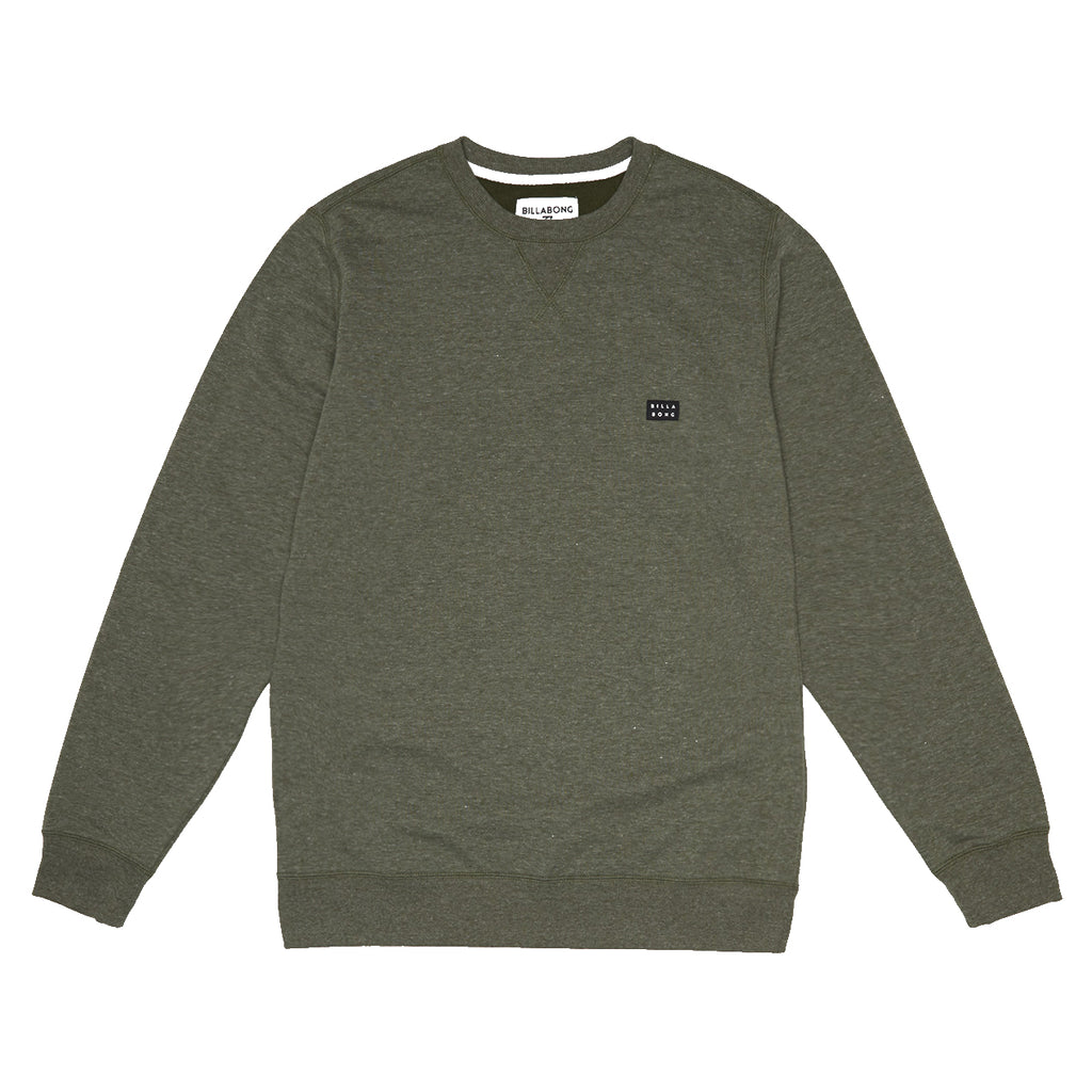 Sudadera Billabong All Day Crew Dark Military sin capucha en color verde militar jaspeado