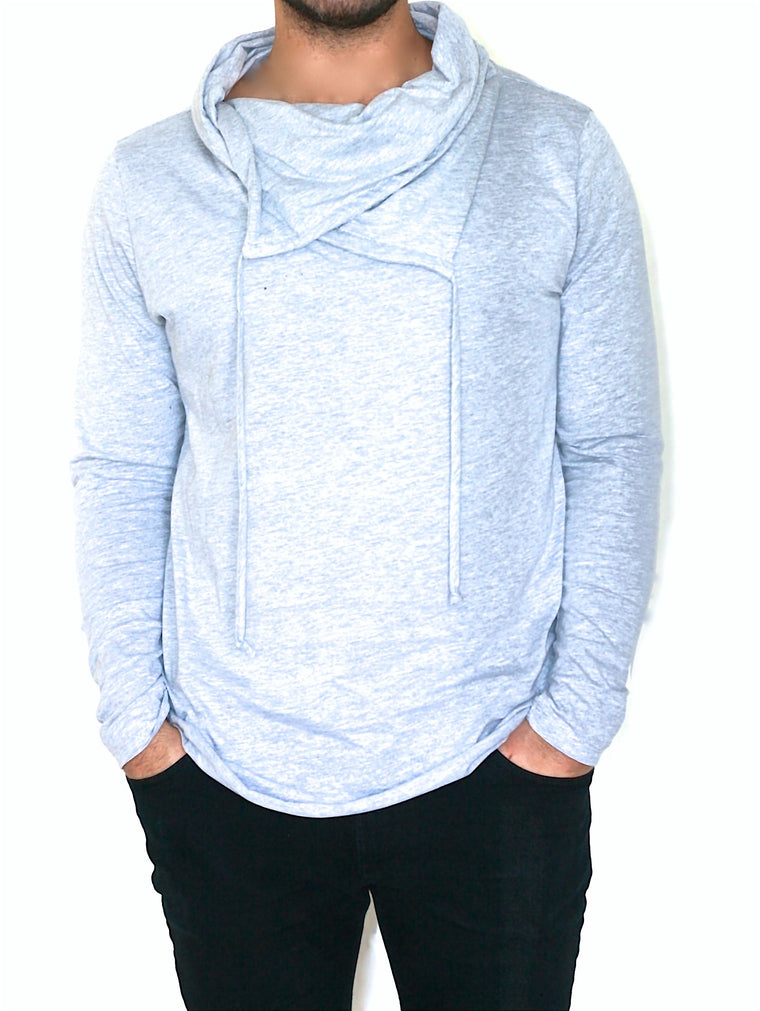 Men's Cowl Neck Shirt - Heather Gray