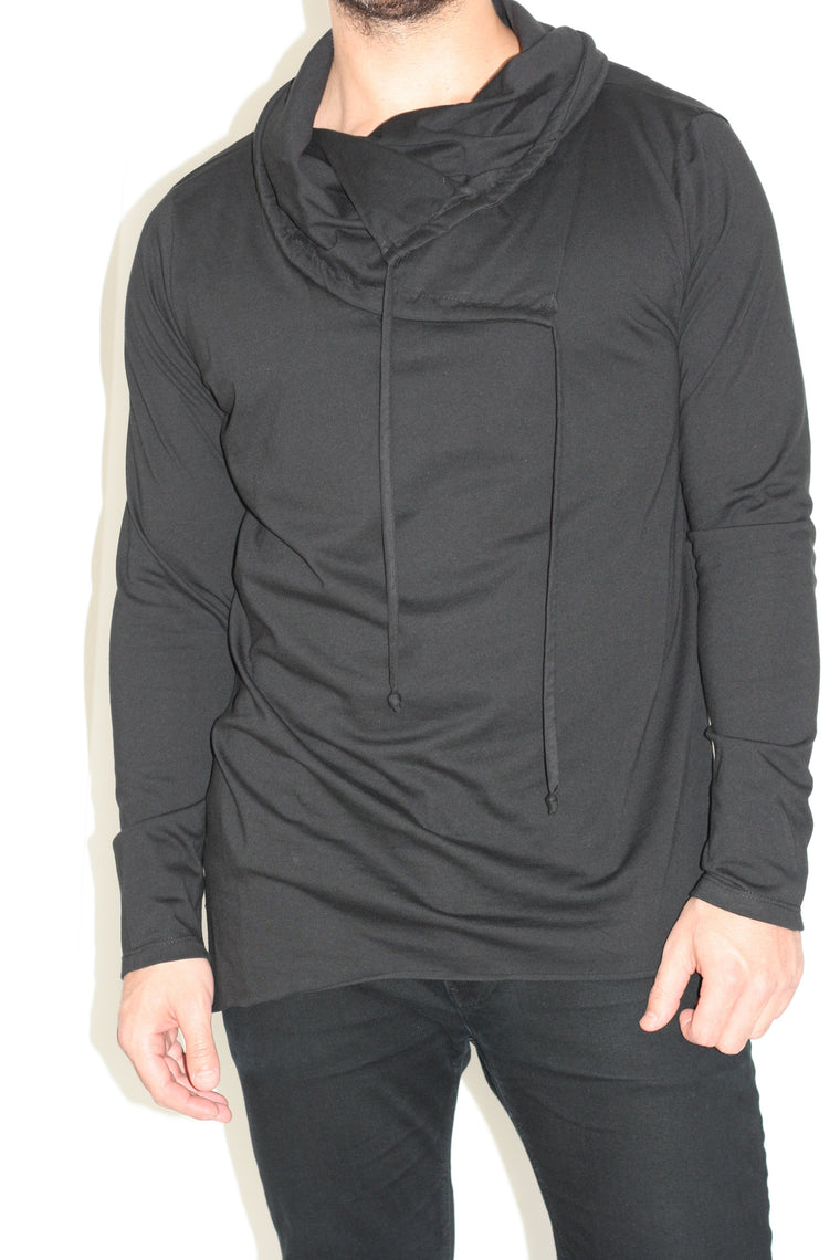 Men's Cowl Neck Shirt - Black