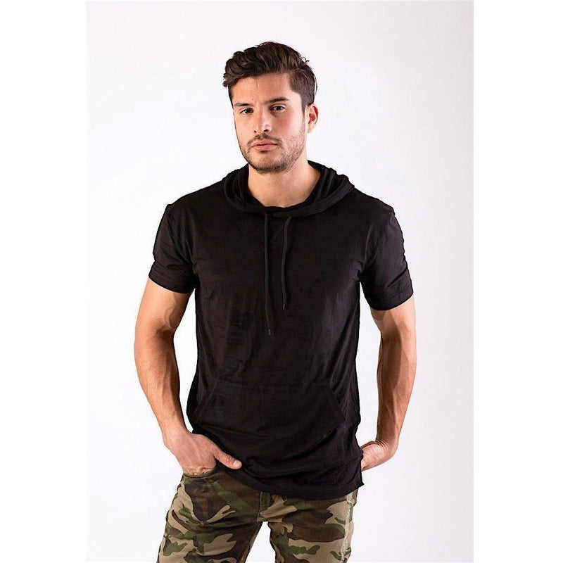 Black Faux Suede Hooded Longline Tee-Hoodies & Sweatshirts-PRIVATE CARTEL