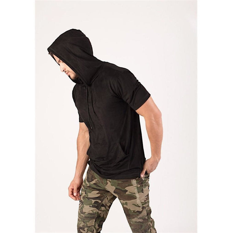 Black Faux Suede Hooded Longline Tee