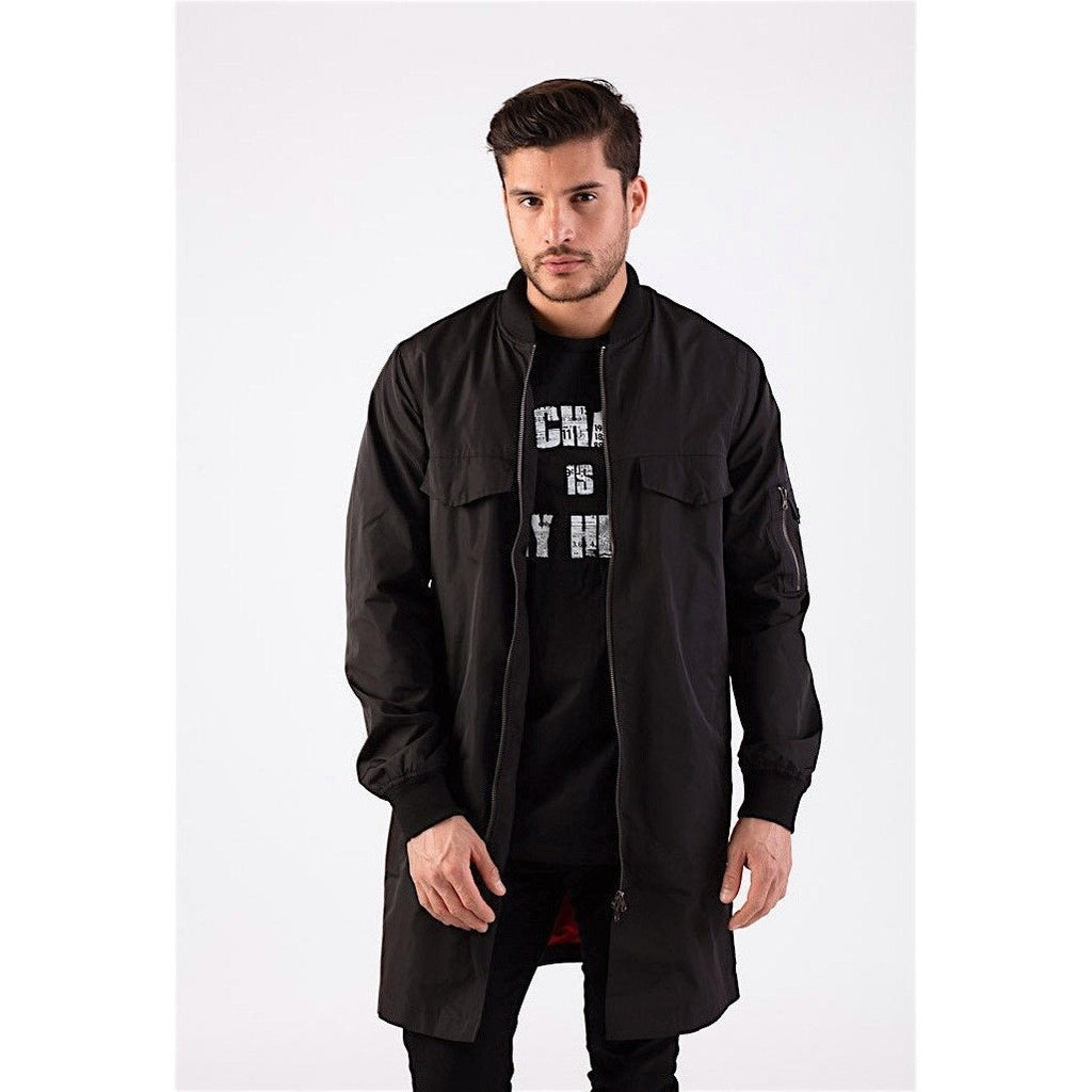 Black Longline Bomber Jacket-Jackets and Coats-PRIVATE CARTEL