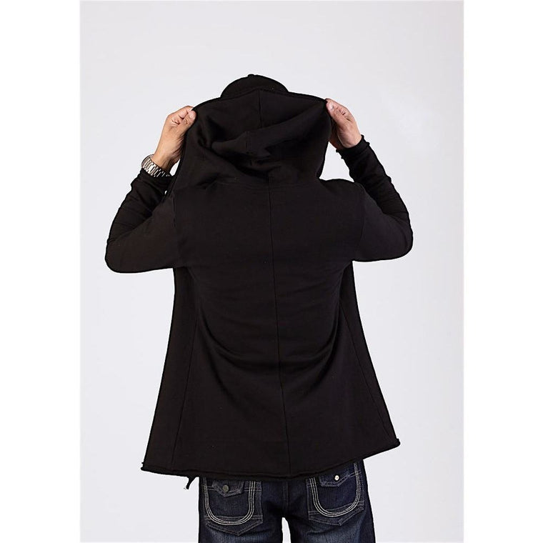 Black Longline Zip Up Hoodie-Hoodies & Sweatshirts-PRIVATE CARTEL