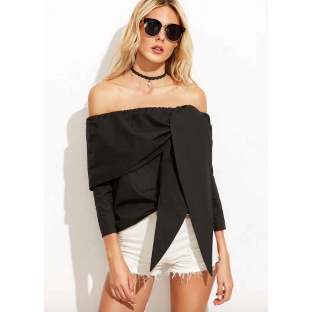 Black Off Shoulder Blouse with Tie Front-Tops-PRIVATE CARTEL