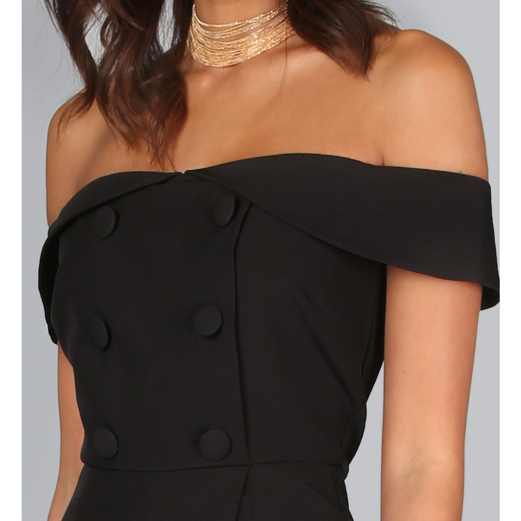 Black Off The Shoulder Tuxedo Romper-Rompers & Jumpsuits-PRIVATE CARTEL