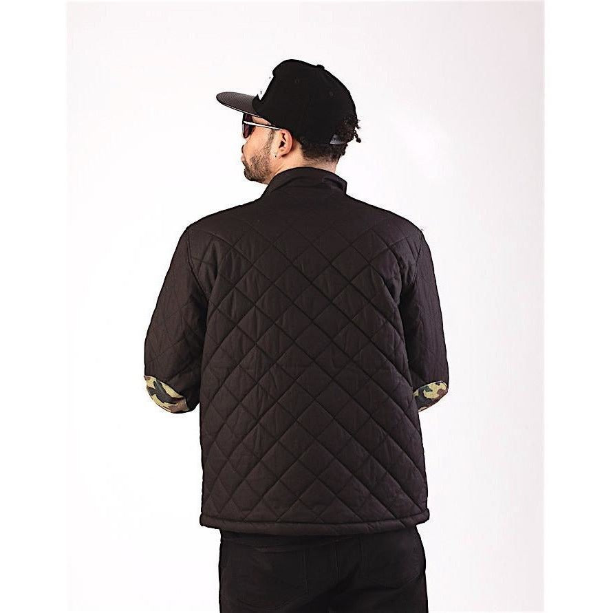 Black Puffer Jacket with Camouflage Details-Jackets and Coats-PRIVATE CARTEL