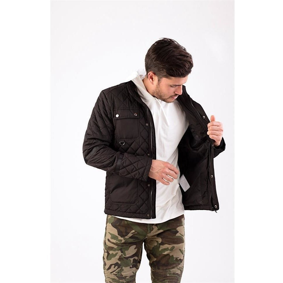Black Quilted Jacket-Jackets and Coats-PRIVATE CARTEL