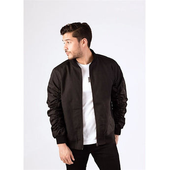 Black Ruched Sleeve Bomber Jacket-Jackets and Coats-PRIVATE CARTEL