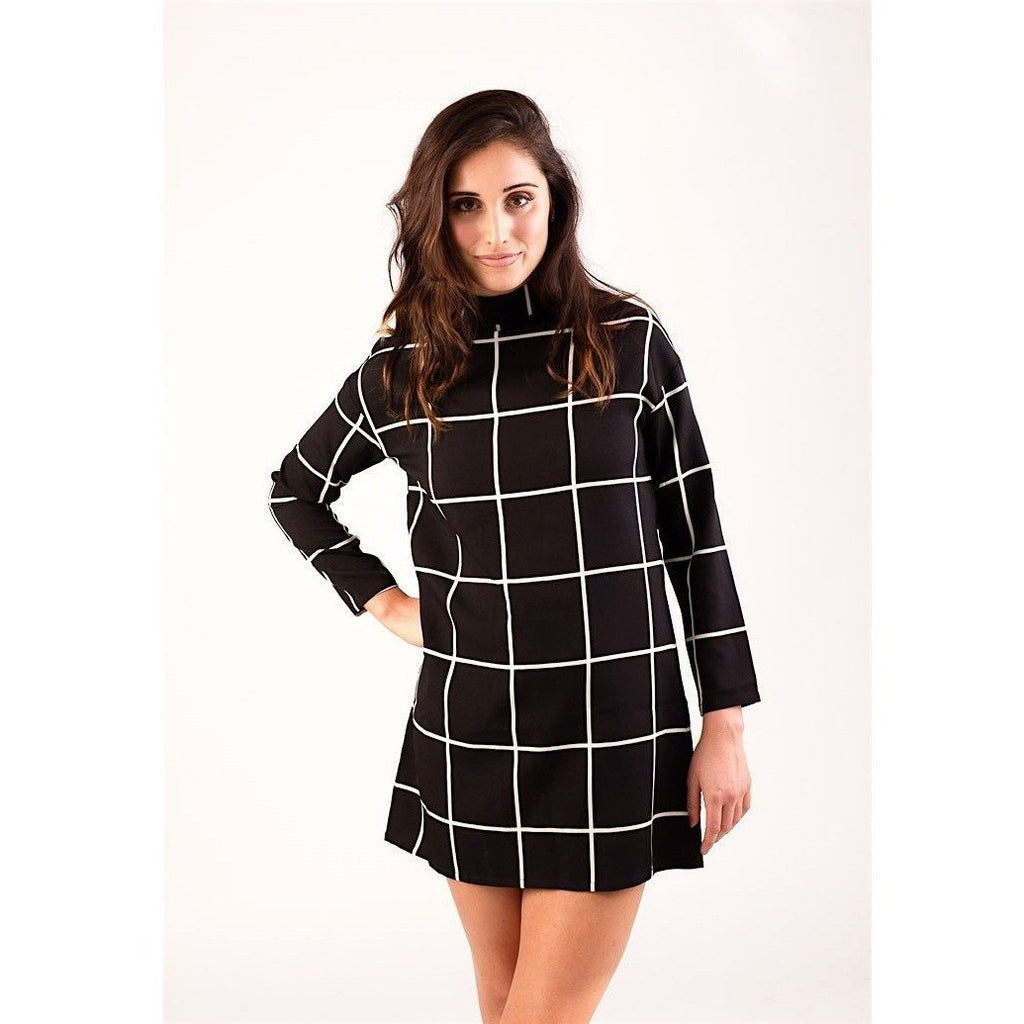 Black & White Mock Neck Grid Dress-Dresses-PRIVATE CARTEL