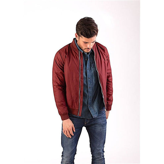 Bordeaux Classic Bomber Jacket-PRIVATE CARTEL