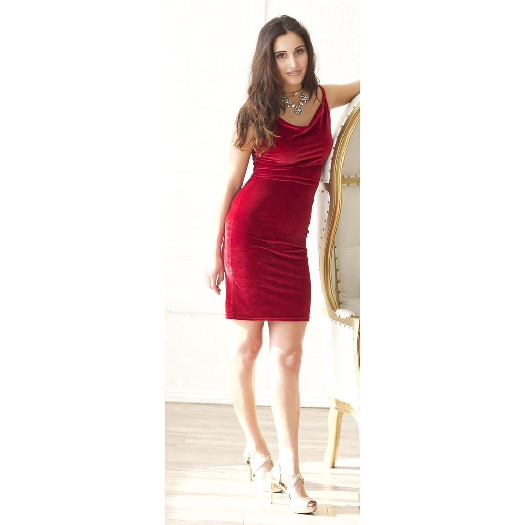 Bordeaux Velvet Cowl Neck Sleeveless Dress-Dresses-PRIVATE CARTEL