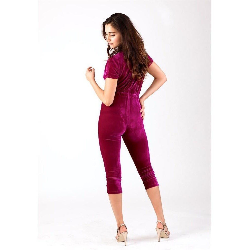 Burgundy Velvet Low Cut Jumpsuit-Rompers & Jumpsuits-PRIVATE CARTEL