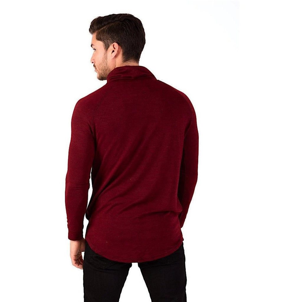 Cardinal Triblend Cowl Neck Hooded Sweater-Sweaters & Knits-PRIVATE CARTEL