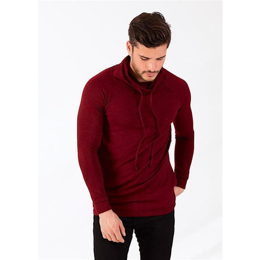 Cardinal Triblend Cowl Neck Hooded Sweater-PRIVATE CARTEL