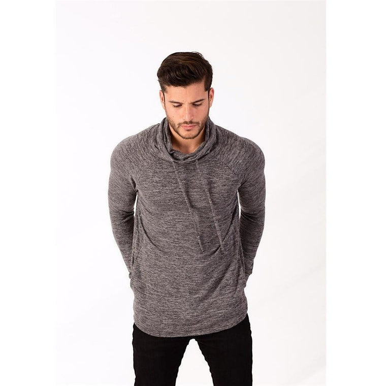 Charcoal Marble Cowl Neck Hooded Sweater