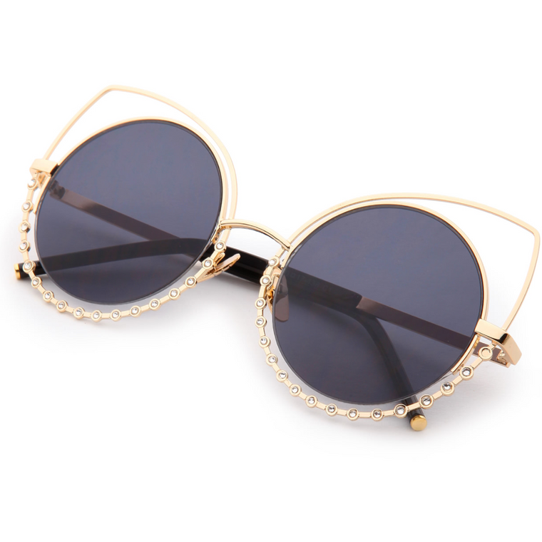 Crystal Embellished Cat Eye Sunglasses