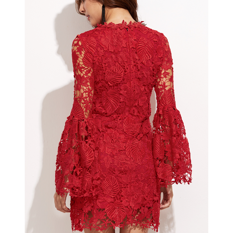 Embroidered Dress with Bell Sleeves-Dresses-PRIVATE CARTEL