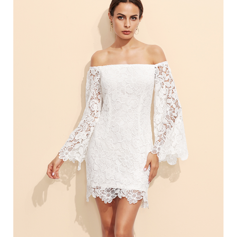 Embroidered Off Shoulder Dress with Bell Sleeves