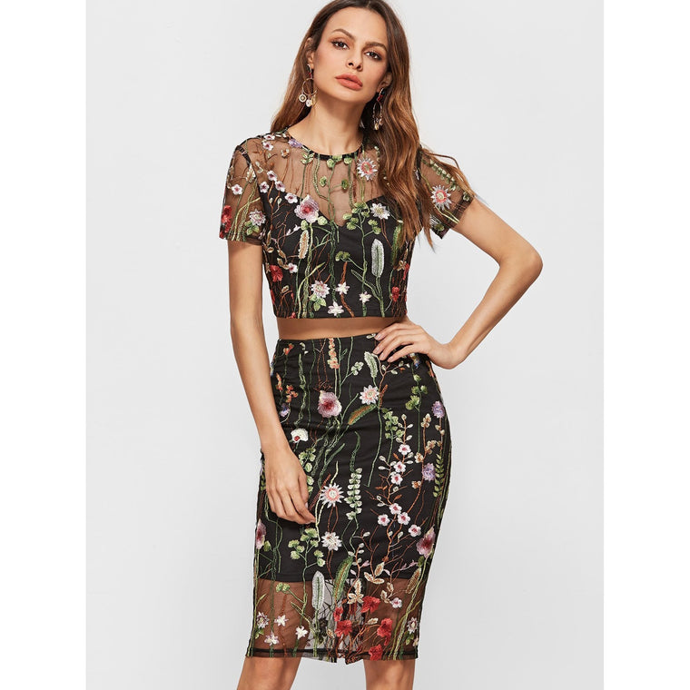 Floral Embroidered Mesh Two Piece Set-Dresses-PRIVATE CARTEL