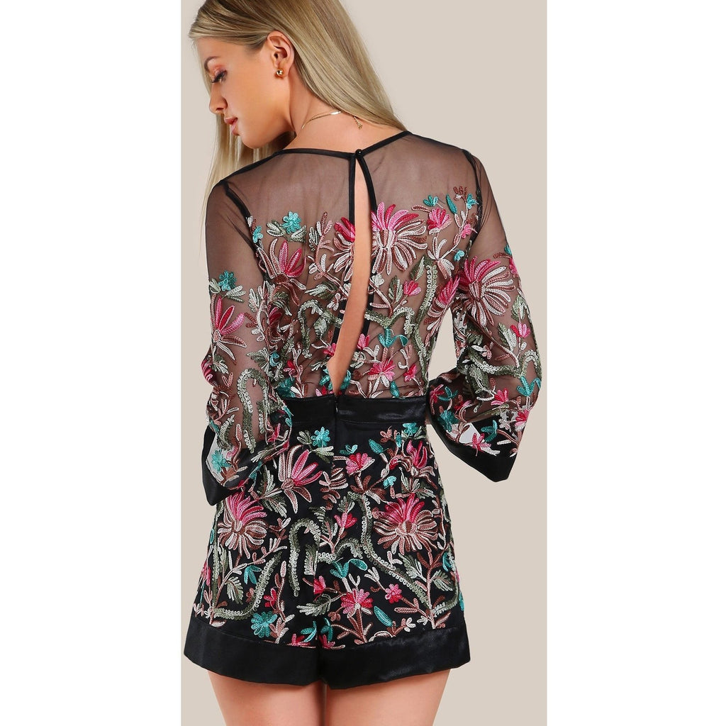 Floral Embroidered Romper-Rompers & Jumpsuits-PRIVATE CARTEL