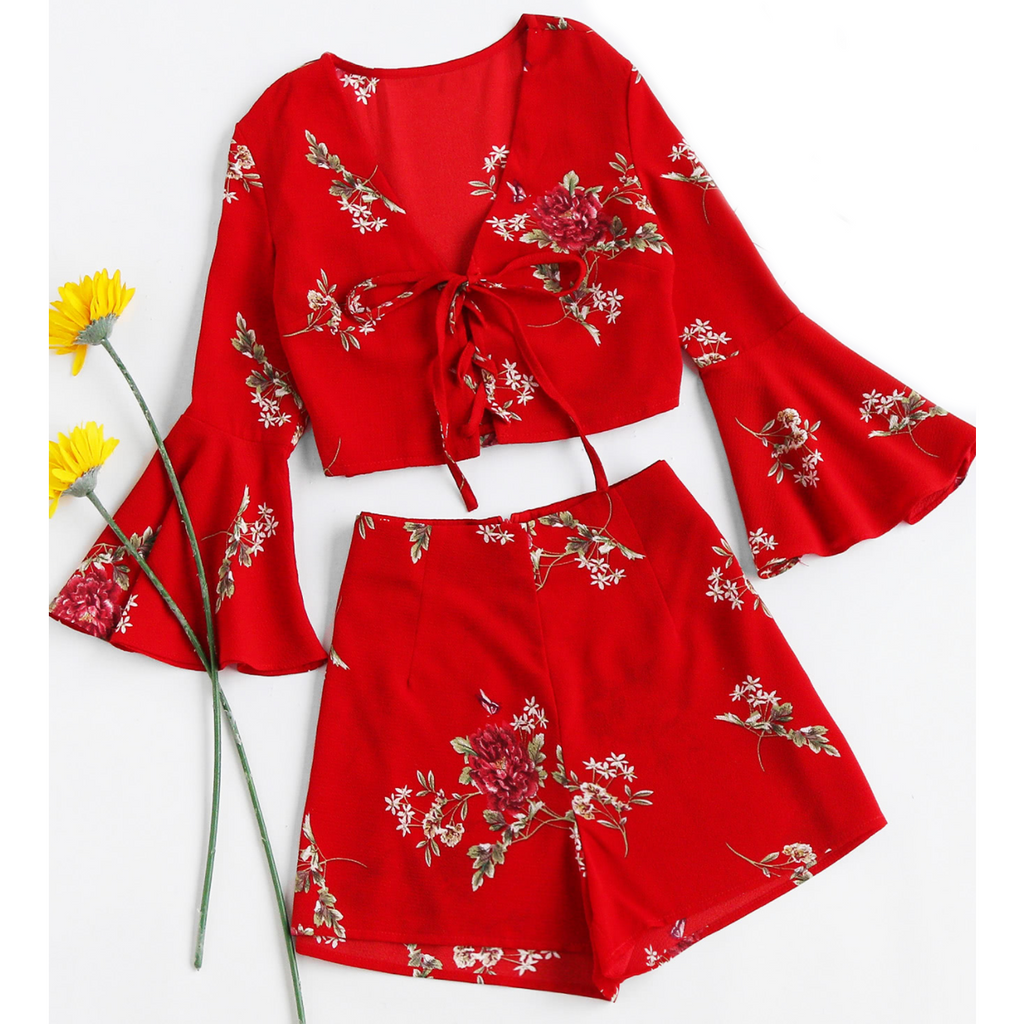 Floral Print Lace Up Two Piece Set with Bell Sleeves-Rompers & Jumpsuits-PRIVATE CARTEL