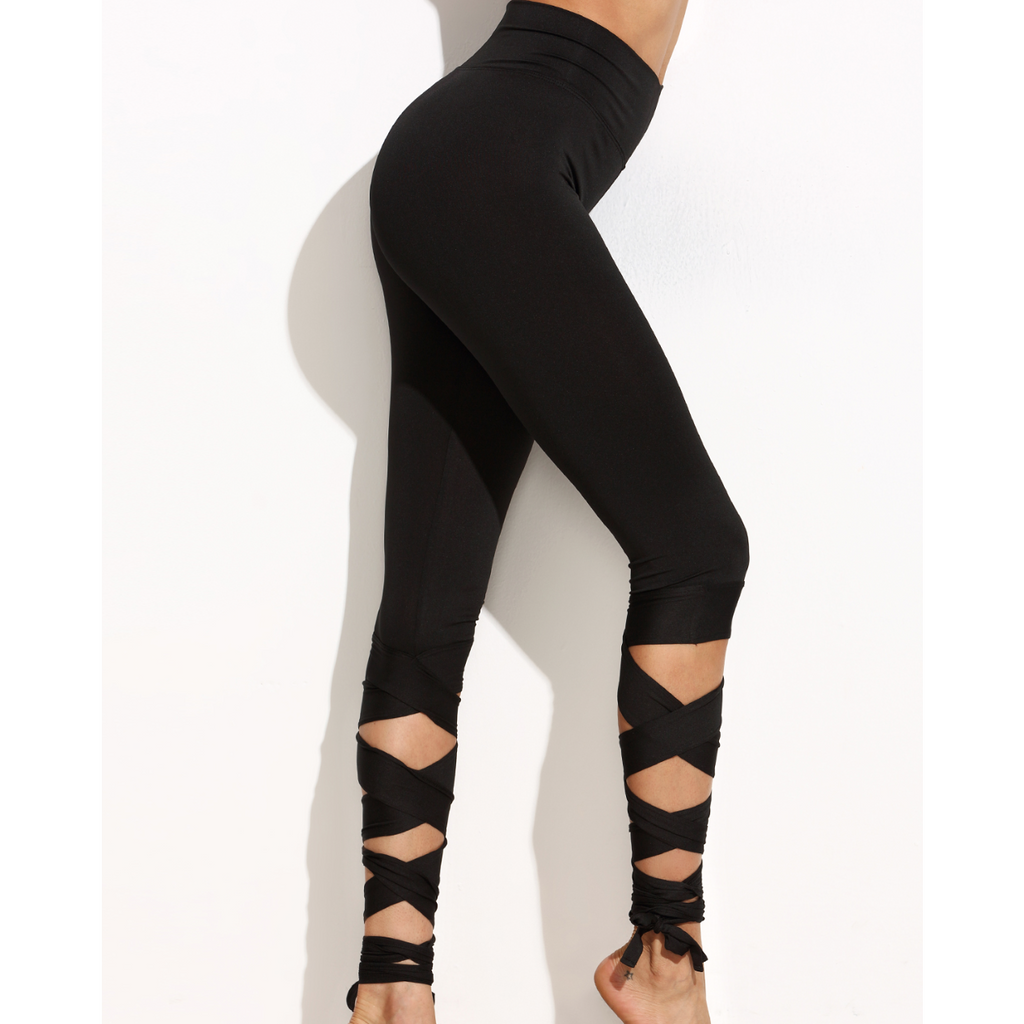 Lace Up Leggings-Women's Activewear-PRIVATE CARTEL
