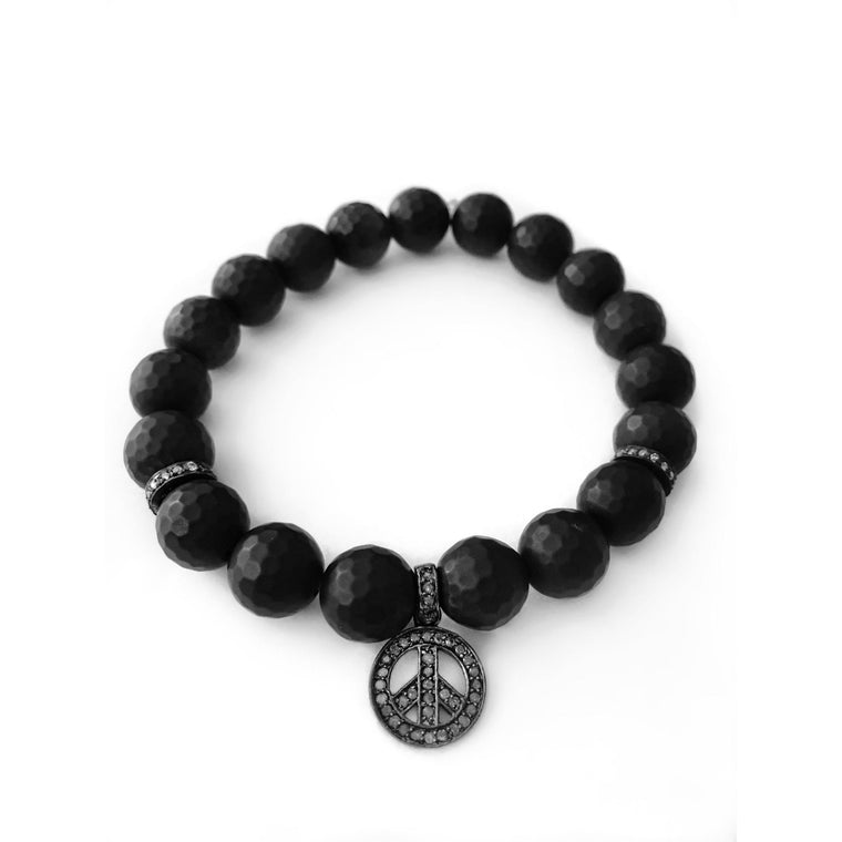 Men's Beaded Bracelet With Pavé Diamonds - Peace