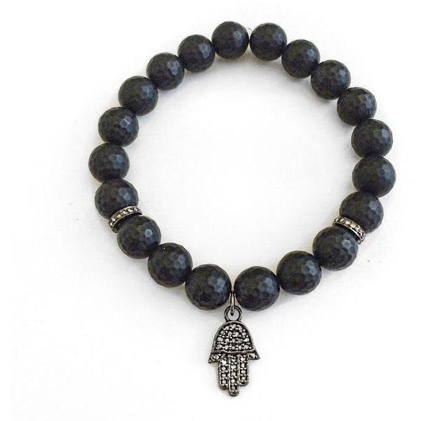 Men's Black Onyx Beaded Bracelet with Pavé Diamonds - Hamsa