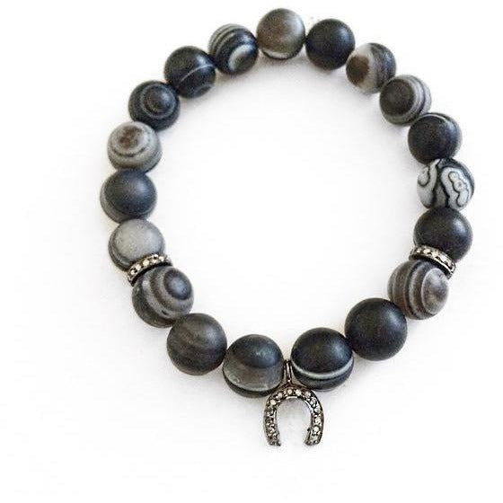 Men's Marble Onyx Beaded Bracelet with Pavé Diamonds - Horseshoe