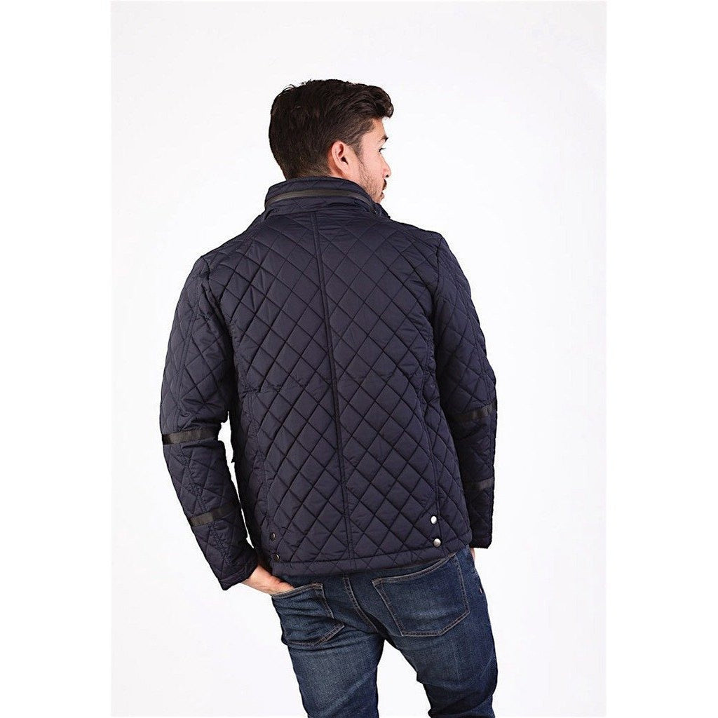 Navy Quilted Jacket-Jackets and Coats-PRIVATE CARTEL