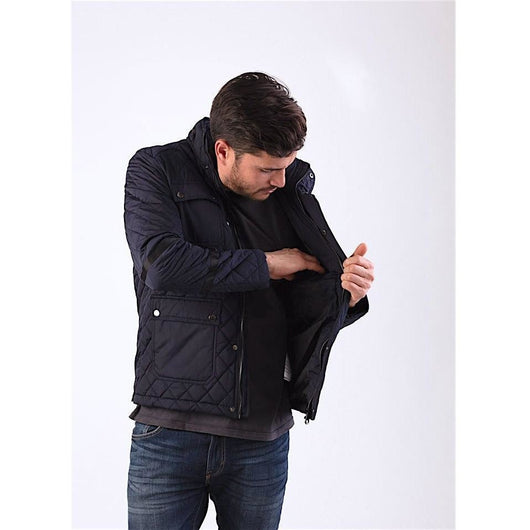 Navy Quilted Jacket-PRIVATE CARTEL
