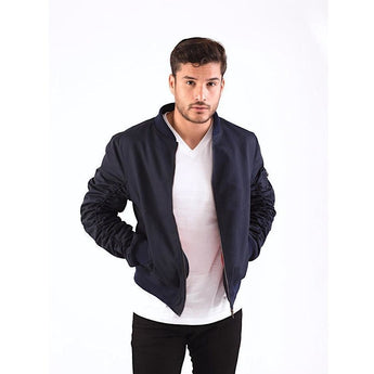 Navy Ruched Sleeve Bomber Jacket-Jackets and Coats-PRIVATE CARTEL