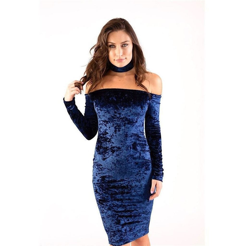 Navy Velvet Choker Cut Out Off The Shoulder Dress Bodycon Dress-Dresses-PRIVATE CARTEL