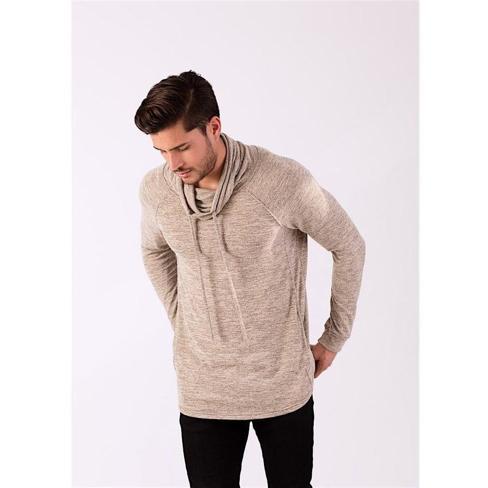 Oatmeal Triblend Cowl Neck Hooded Sweater-Sweaters & Knits-PRIVATE CARTEL