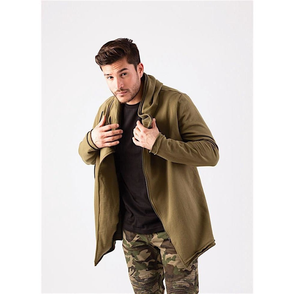 Olive Green Longline Zip Up Hoodie-Hoodies & Sweatshirts-PRIVATE CARTEL