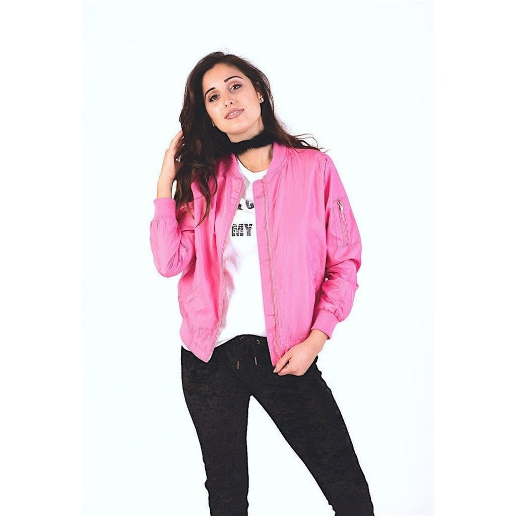 Pink Bomber Jacket-Women's Jackets & Coats-PRIVATE CARTEL