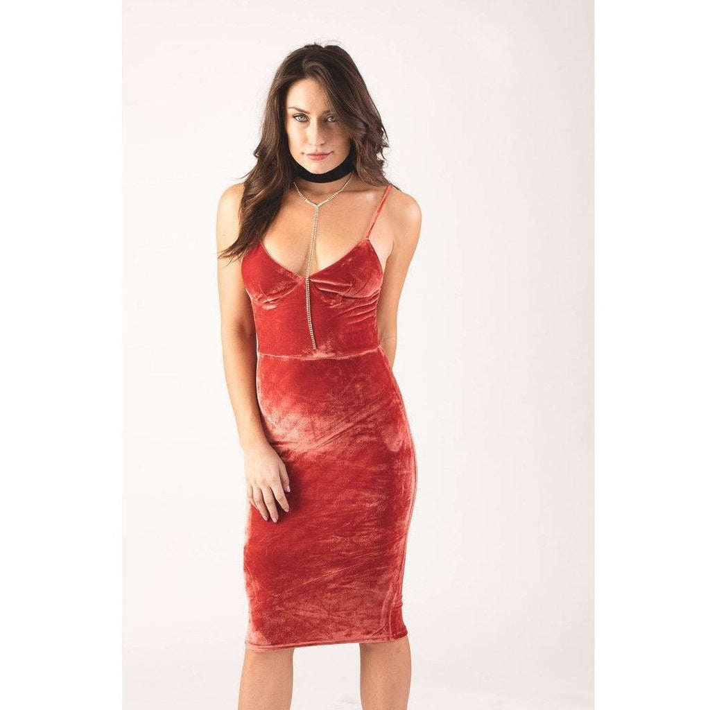 Potter's Clay Velvet Cami Bodycon Dress-Dresses-PRIVATE CARTEL