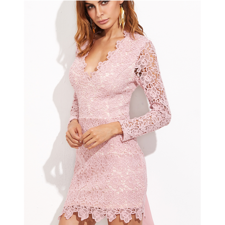 Put a Bow On It - Open Back Embroidered Dress In Pale Pink-Dresses-PRIVATE CARTEL