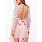 Put a Bow On It - Open Back Embroidered Dress In Pale Pink-PRIVATE CARTEL