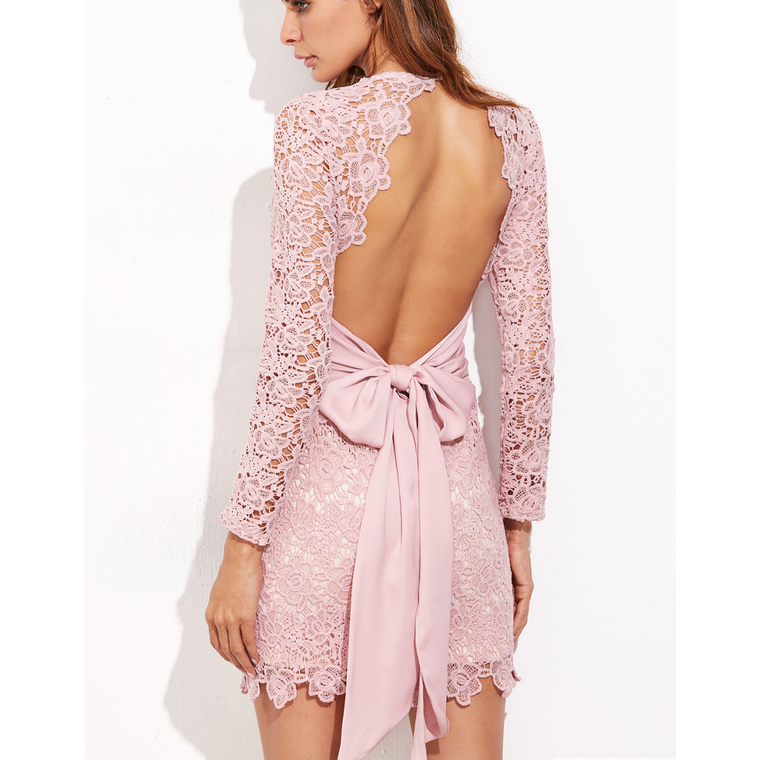 Put a Bow On It - Open Back Embroidered Dress In Pale Pink