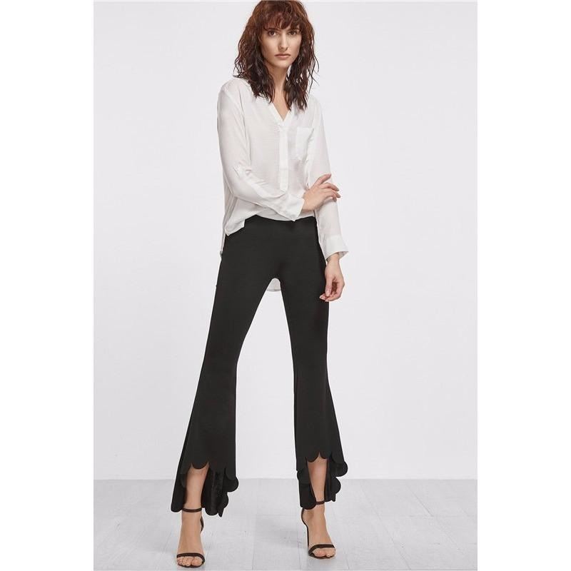 Scallop Hem High Low Flare Pants-Women's Pants-PRIVATE CARTEL